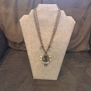 Stella and Dot gold and amber stone necklace